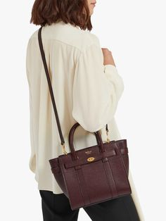 9a75284a26 BuyMulberry Mini Bayswater Zipped Grain Veg Tanned Leather Tote Bag,  Oxblood Online at johnlewis.