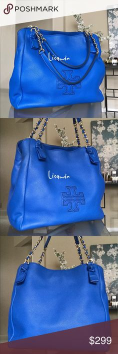 """💯% Authentic Tory Burch Shoulder Bag 💐 Great condition, comes with dust bag only.Height: 12.35"""" (31 cm) Length: 12.75"""" (32 cm) Depth: 6.37"""" (16 cm)Pebbled leather Magnetic snap closure with center zipper compartment Leather-and-chain strap with 8.37"""" (21 cm) drop 1 interior zipper pocket, 1 snap pocket, 2 open pockets Tory Burch Bags Shoulder Bags"""