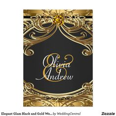 Elegant Glam Black and Gold Wedding 5x7 Paper Invitation Card