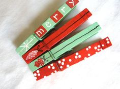 CHRISTMAS ORNAMENT CLOTHESPINS hand painted by SugarAndPaint