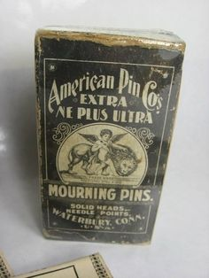 Due to strict mourning rituals in the century, when a woman was in mourning she couldn't wear anything flashy, even shiny pins keeping her clothing together. These mourning pins resemble thin black nails. Mourning Dress, La Danse Macabre, Post Mortem Photography, Momento Mori, Mourning Jewelry, Cemetery Art, Vintage Tins, Vintage Advertisements, Victorian