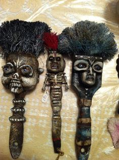 At our latest play date we created altered paint brushes. Our inspiration was a workshop from Michael DeMeng  called Good Brushes Gone B...