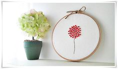 Clearance Sale Embroidery hoop wall art - Red Poppy Flower with swarovski crystals