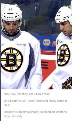 Lucic and Bergeron look like they killed someone LMAO #Hockey #Humor #Bruins