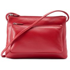 ili Leather Crossbody Bag (96 CAD) ❤ liked on Polyvore featuring bags, handbags, shoulder bags, red, leather shoulder handbags, red leather shoulder bag, leather hand bags, crossbody purse and leather handbags