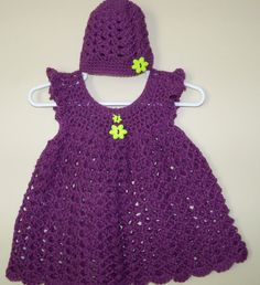 Baby Girl Crochet Dress and Hat Set in Grape Jam by SoCroshay