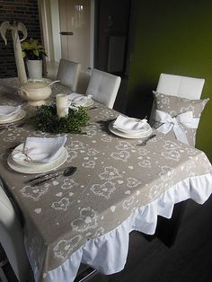 Linen tablecloth White Tenderness by shabby.romantic / Ľanový obrus White Tenderness