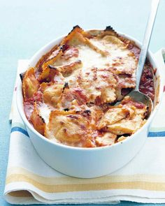 Deliciously baked and served warm, this Baked Ravioli recipe makes the perfect dinner for two! From @marthastewart
