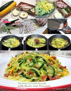 Stir-Fried Zucchini Noodle with Bacon and Parmesan (Atkins Diet Phase 1 Recipe) | Diet Plan 101