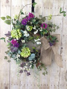 Spring Wreaths, Summer Wreaths, Front Door Wreaths, Wreaths for Front Door, Purple Wreath, Floral Wreath, Burlap Bow Wreath, Outdoor Wreath. Gardeners Deight is this sweet floral wreath for your spring front door or summer door. Filled with various foliage encluding Ivy, Eucalyptus, and