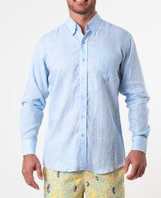 Solid Woven Linen Shirt - Light Blue - Michael's Swimwear