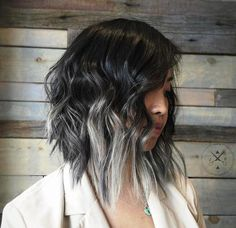 long black shaggy bob with silver ends