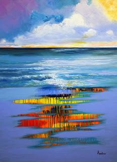 "Contemporary Artists of Florida: Original Contemporary Seascape Painting ""Embracing Freedom"" by Contemporary International Artist Arrachme"
