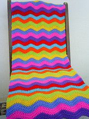 Love the colors of this crochet ripple afghan. They'd be perfect for the spring or summer!