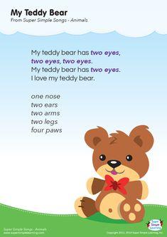 My Teddy Bear Lyrics Poster - Super Simple Teddy Bear Lyrics, Teddy Bear Poem, Teddy Bear Crafts, Teddy Bear Day, Teddy Bear Picnic Song, Songs For Toddlers, Lesson Plans For Toddlers, Kids Songs, Kids Music