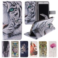 Animals Wallet For Coque iPhone 6 Case Leather & Silicone Flip Cover iPhone 6s 6 Plus Phone Case Tiger Owl For Fundas iPhone 6