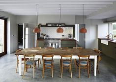 Country dining design by Lucy Marston Architects from project Long Farm English Farmhouse, Long House, Big Kitchen, Country Kitchen, Kitchen Dining, Contemporary Kitchen Design, Modern Contemporary, English House, Brickwork