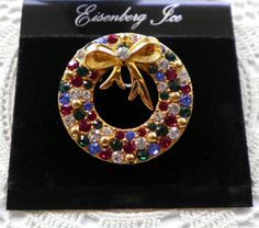 Vintage EISENBERG ICE Rhinestone Wreath Brooch Pin by JoolsForYou, $19.00