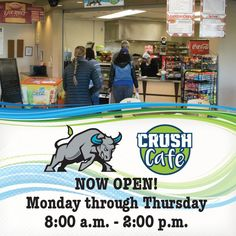 Summer hours for the Crush Cafe.