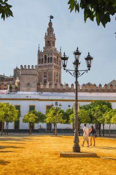 View of La Giralda from the Patio de Banderas in Seville, Spain