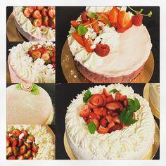 En del klassiska gröddtårtor med jordgubbar, andra med Browniebotten, pannacotta/hallonmousse/ chokladkräm och någon glutenfattig med chokladkräm och hallon.