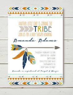 Tribal Baby Shower Invitation by BelvaJune on Etsy https://www.etsy.com/listing/217573669/tribal-baby-shower-invitation