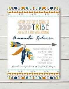 Tribal Baby Shower Invitation by BelvaJune on Etsy https://www.etsy.com/listing/217573669/tribal-baby-shower-invitation