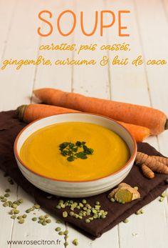 Indian Vegetarian Recipes 89909 split pea carrot, coconut milk, ginger and turmeric soup recipe Easy Casserole Recipes, Fun Easy Recipes, Vegetarian Recipes Easy, Mexican Food Recipes, Soup Recipes, Easy Meals, Cooking Recipes, Vegetarian Soup, Turmeric Soup