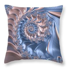Throw pillow: Pink and blue abstract art based on a fractal. Just pink and blue?…