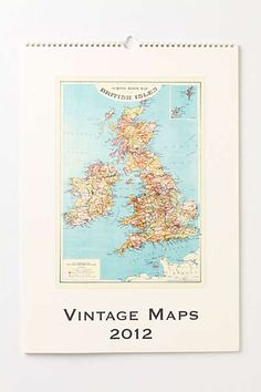 Anthropologie - Vintage Maps Wall Calendar