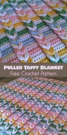 Pulled Taffy Baby Blanket Free Crochet Pattern #freecrochetpatterns #crochetblanket #babyblanket