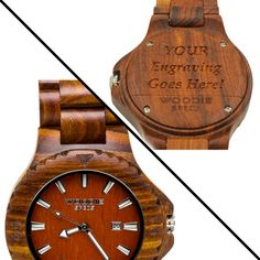 Handcrafted men's wood watch made from 100% natural red sandalwood. FREE custom engraving!