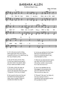 Mom sang Barbara Allen to us when it was time to go to sleep.  She had a beautiful voice.  Download the sheet music of the song Barbara Allen for two voices