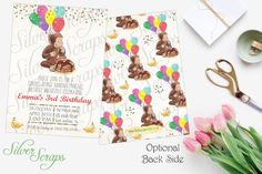 Watercolor Curious George and Confetti Custom Birthday Party Invitation - Banana Pancakes Boy Girl Joint Monkey Breakfast Matching Back Side Vintage Yellow Red Green Blue Pink Balloons