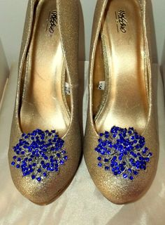 Vintage Style Sapphire Blue Rhinestone Bridal by ShoeClipsOnly, $28.00