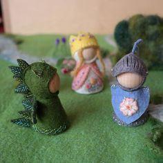 Princess Dragon and Knight Waldorf inspired pegdoll set in