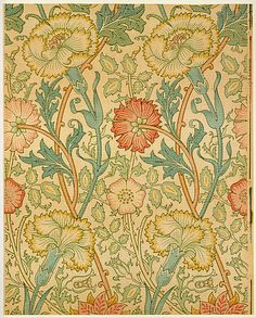 """Pink and Rose William Morris Wallpaper: wood-block printed 1890. Morris believed that """"any decoration is futile…when it does not remind you of something beyond itself."""""""