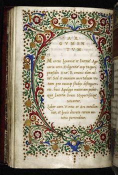 Arrighi, Royal 12 C VIII f. 3v. Pandolfo Collenuccio of Pesaro (d. 1504), Lucian, Collenuccio's Apologues (Agenoria, Misopenes, Alithia, and Bombarda) and Lucian's Dialogues (De raptu Europae, Galene et Panope, and De Paradis iudicio). Italy, Central (Rome and Florence). c. 1509 - c. 1517. Scribe: Ludovico degli Arrighi. Artist: Attavante degli Attavanti