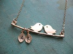 LOVE Birds Necklace Personalized Gold Filled by BlueDoveStudio, $32.00