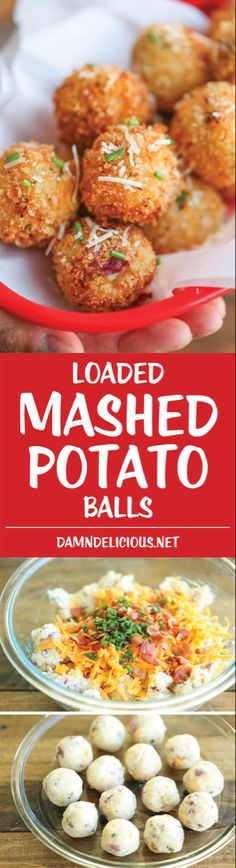 Loaded Mashed Potato Balls – What do you do with leftover mashed potatoes? You m… Loaded Mashed Potato Balls – What do you do with leftover mashed potatoes? You make melt-in-your-mouth, crisp yet creamy mashed potato balls of course! Side Dish Recipes, Side Dishes, Appetizer Recipes, Dinner Recipes, Party Recipes, Fingers Food, Loaded Mashed Potatoes, Cheesy Potatoes, Baked Potatoes
