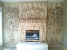 Plaster Sculpted fireplace.Architectural Relief,Plaster High Relief, Wall sculpture,Sculpted Wall Panel,Sculpturesque Painting, Sculpted Walls, High Relief, Bas Relief