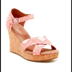 "Geometric Ikat Strappy Wedge Sandal Brand new never worn. Sizing: True to size. B=medium width  - Open toe - Side buckle strap closure - Ikat print straps - Suede insole - Cork wedge heel - Approx. 3.75"" heel, 1"" platform - Imported Materials: Textile upper, manmade sole TOMS Shoes Wedges"