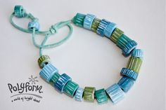 The gorgeous blues and greens in the Sculpey ® Souffle line of clay lend themselves quite readily to visions of surfside fun and waves. These easy beads are carved after baking to create the texture. White paint only enhances the beachy feel of the design.