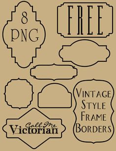 Free set of 8 frame borders that are in PNG format with a transparent background.
