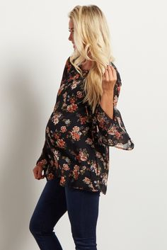 Black Floral Sheer Lace Up Bell Sleeve Top
