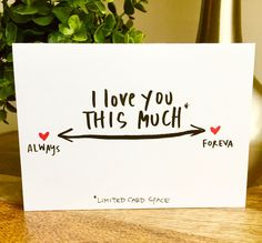 Funny Vanlentine's Day card, i love you this much card, hand lettered valentines day card, one year anniversary card, paper anniversary by SideSandwich on Etsy