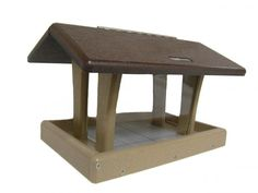Recycled 3 Quart 4-Sided Hopper w/Brown Roof | Birds Choice