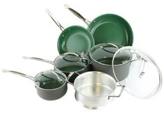 New Orgreenic 10 Piece Anodized Green Non Stick Kitchen Cookware Set Pans Pots | eBay