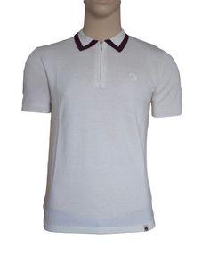 Lowry PRETTY GREEN 1960s Mod Tipped Knit Zip Polo Shirt Cream BNWT Fabulous #PrettyGreen #PoloShirts