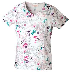 Style Code: A stylized V-neck top that features binding around the neck, two roomy patch pockets, one cell phone pocket, front princess seams, back darts and side vents. Its center back length measures 26 Cherokee Woman, Uniform Advantage, Cherokee Scrubs, Medical Uniforms, Stay True, Scrub Tops, Princess Seam, V Neck Tops, Floral Tops
